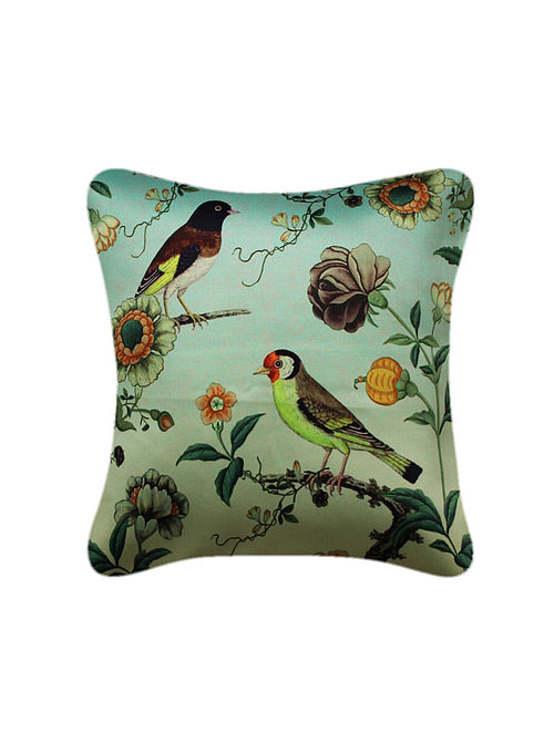 Panchhi Aqua-Multicolored Printed Satin Cushion Cover (16in x 16in)