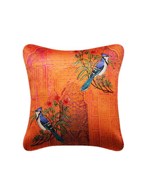 Meina Orange-Blue Printed Satin Cushion Cover (16in x 16in)