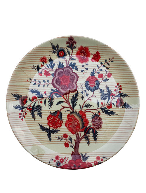 Tree of Life Beige-Red Printed Bone China Decorative Wall Plate -10in