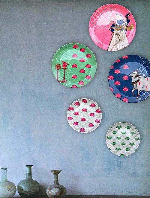 Pichwai Multicolored Printed Bone China Decorative Wall Plates (Set of 5)