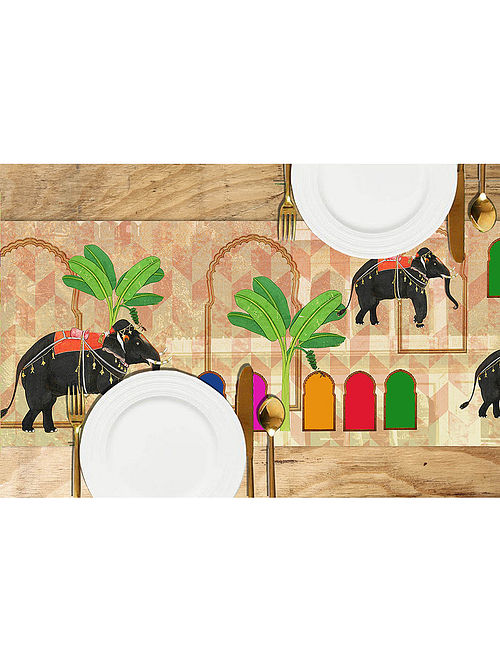 Gajj Multicolored Printed Dupion Silk Table Runner (72in x 13in)