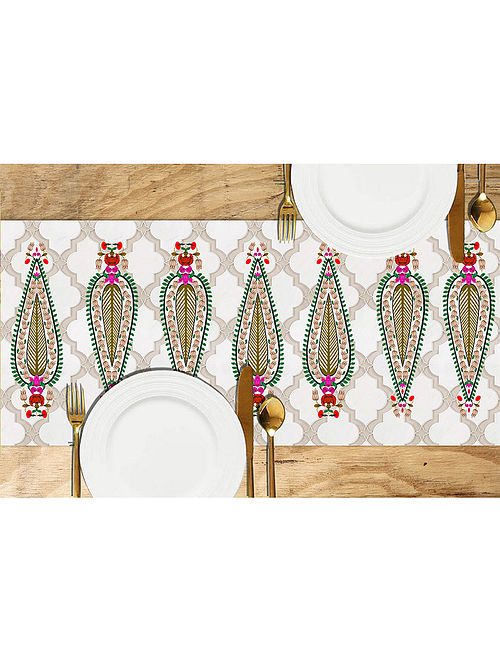 Cypress Multicolored Printed Dupion Silk Table Runner (72in x 13in)