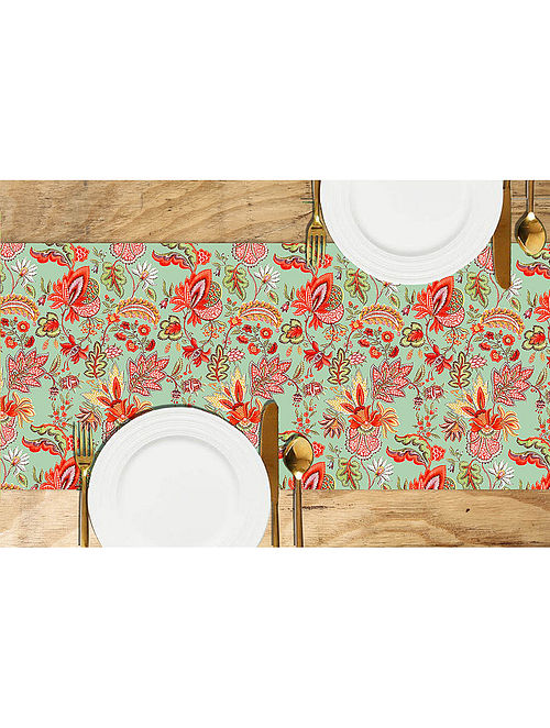Chintz Green-Multicolored Printed Dupion Silk Table Runner (72in x 13in)