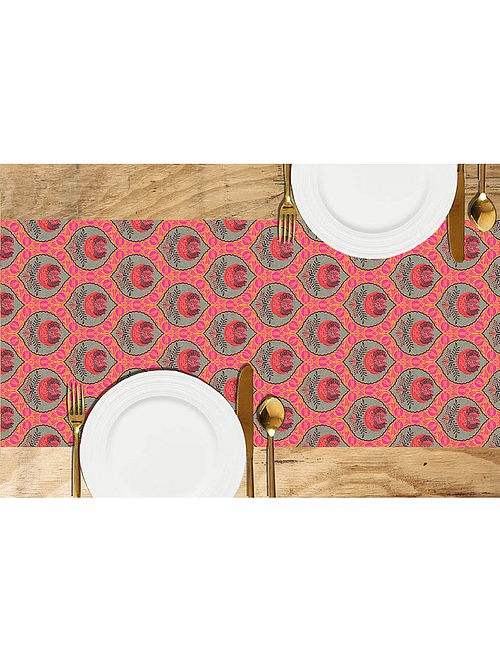 Anar Multicolored Printed Dupion Silk Table Runner (72in x 13in)