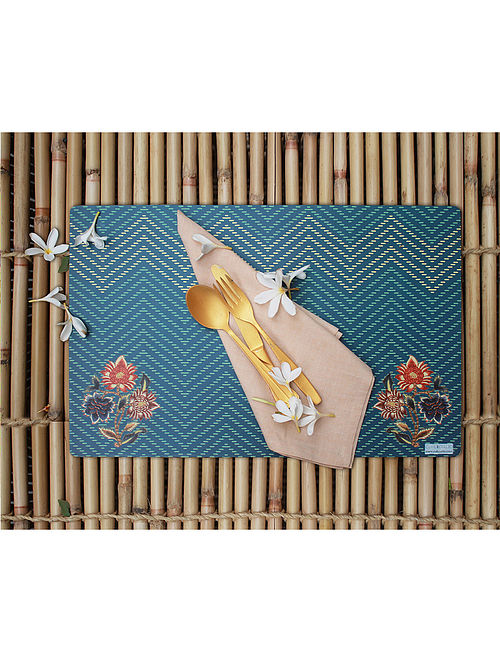 Chintz Blue-Multicolored Printed MDF Wood Placemat (Set of 2) (18in x 12in)
