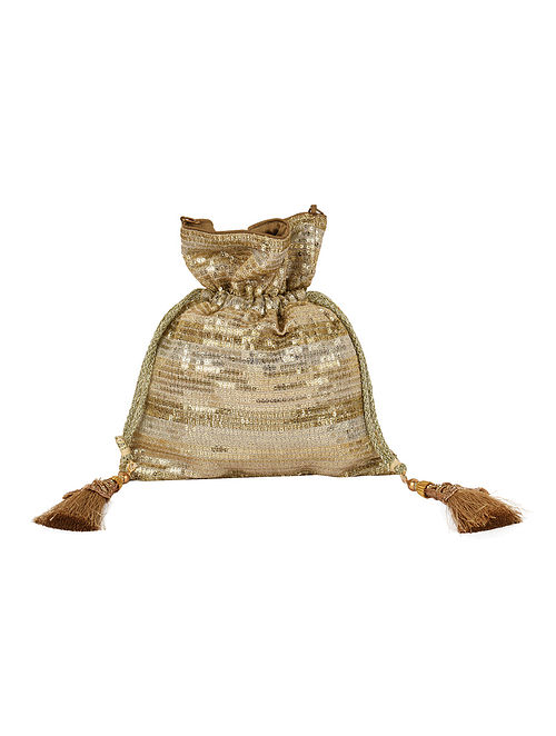 Gold Silver Handcrafted Sequined Potli with Tassels