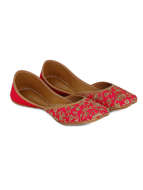 Pink-Gold Handcrafted Dupion Silk and Leather Juttis with Dori Jaal Work