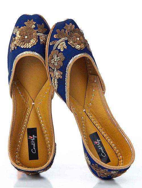 Blue-Gold Hand-Embroidered Silk Jutti With Zardozi Work