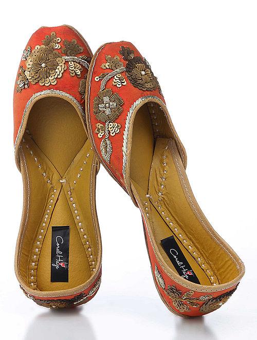 Orange-Gold Hand-Embroidered Silk Jutti With Zardozi Work
