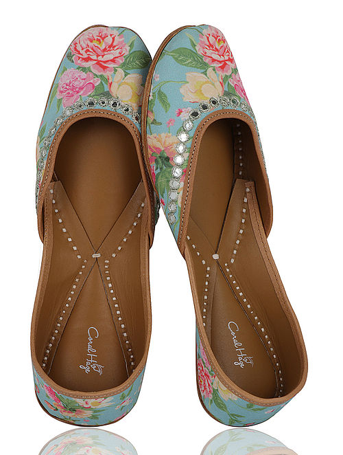 Turquoise-Multicolored Floral Handcrafted Crepe Jutti With Mirror Work