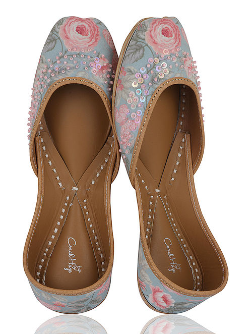 Pink-Blue Floral Handcrafted Crepe Jutti with Sequins and Beads