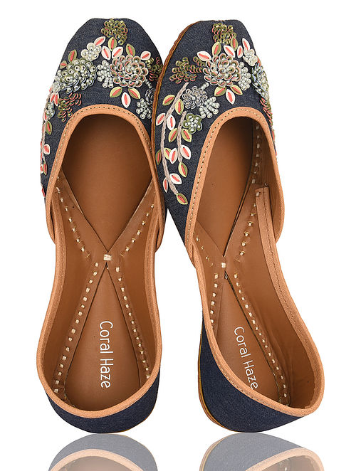 Blue-Multicolored Handcrafted Denim and Leather Juttis with Sequins