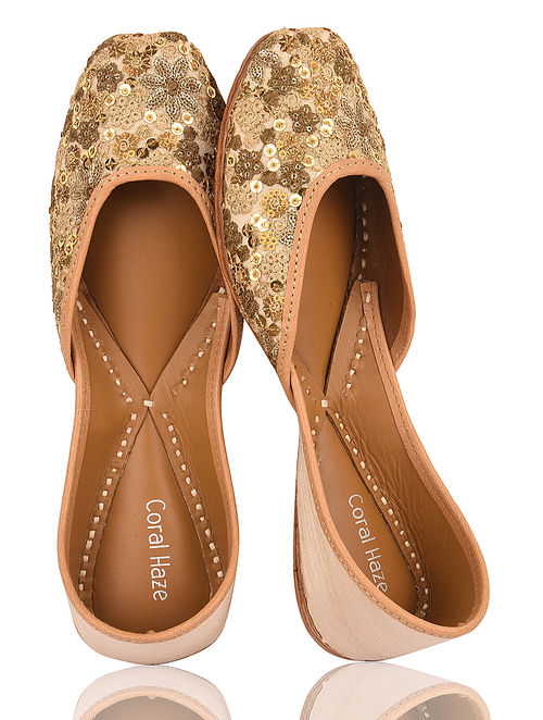 Golden Handcrafted Dupion Silk and Leather Juttis with Sequins and Threadwork