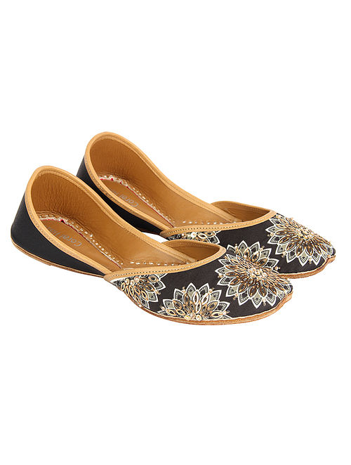 Black-Golden Hand Embroidered and Printed Silk and Leather Jutti with Sequins