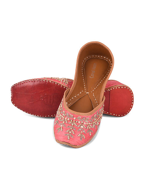 Pink Hand Embroidered Jutti with Sequin and Zari Work