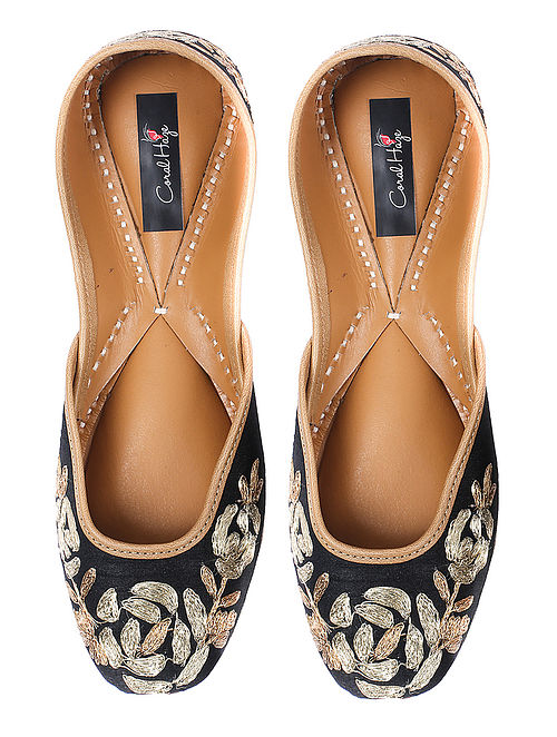 Black Zardozi-embroidered Silk and Leather Juttis