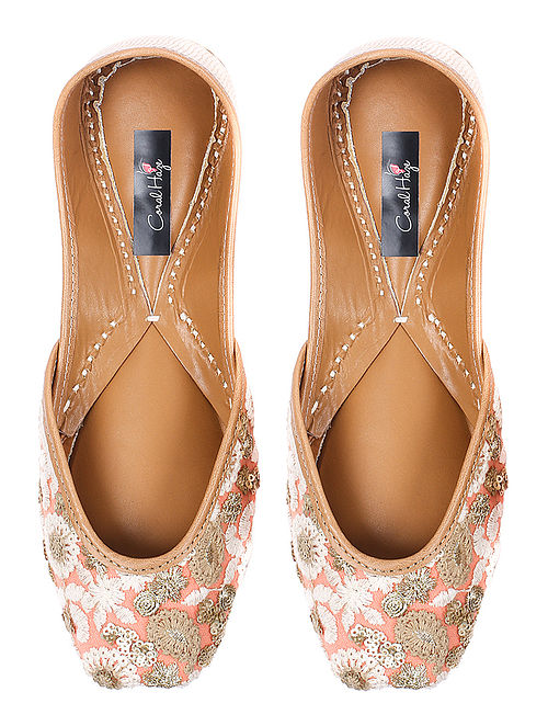 9b03326066d Peach-Ivory Sequin-embellished Silk and Leather Juttis with Zari and Thread  Work