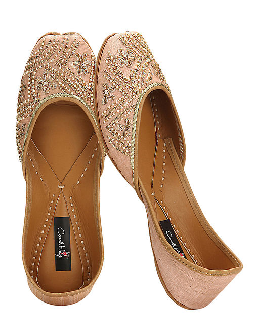 Peach Embroidered Silk and Leather Juttis