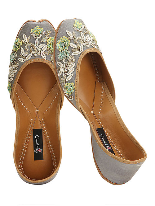 Grey Zardozi and Sequins-embroidered Silk and Leather Juttis