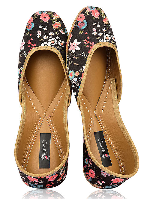 Black Floral Printed Silk and Leather Juttis