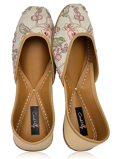 9f68133a0a2 Multicolored Floral Printed Silk and Leather Juttis with Embellishments
