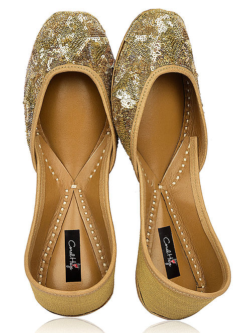 Gold Hand-Embroidered Silk and Leather Juttis with Embellishments