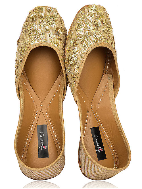Gold Zari-Embroidered Silk and Leather Juttis with Embellishments