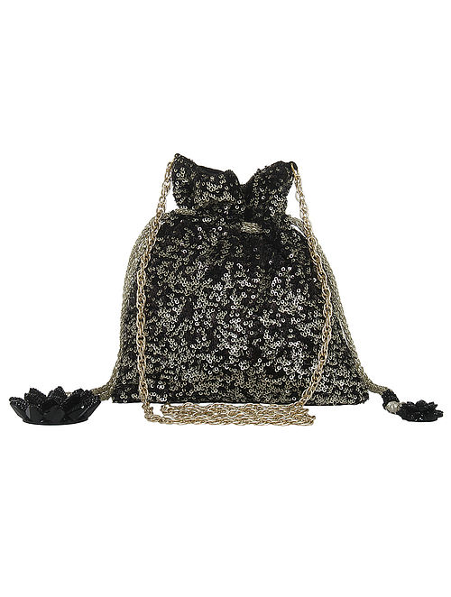 Black Sequin Potli with Floral Tassels