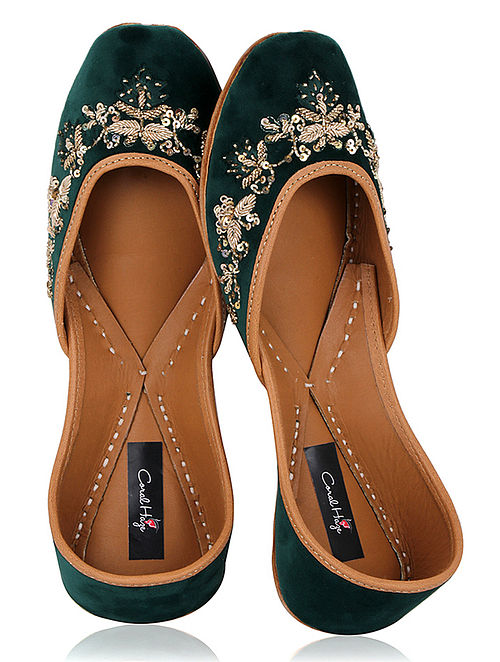 Green Zardozi Embroidered Velvet Juttis
