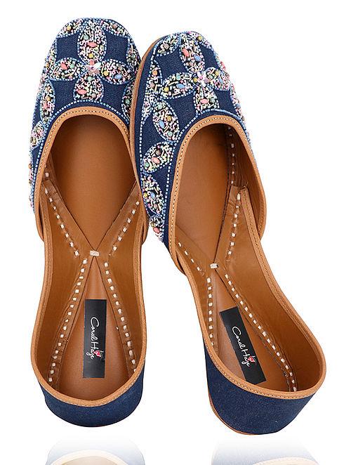 Blue Sequins and Bead Embellished Denim Juttis