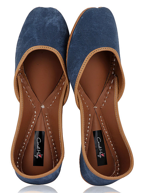 Blue Handcrafted Leather Juttis