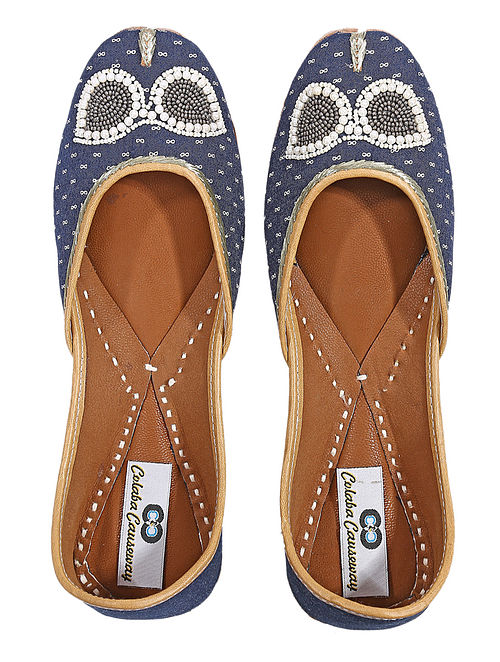 Blue-White Handcrafted Silk and Leather Juttis