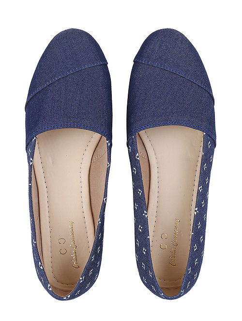 Blue-White Handcrafted Denim Loafers