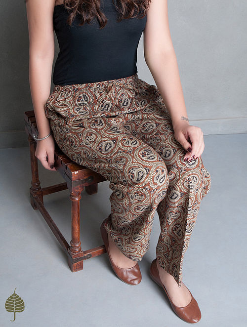 Maroon-Black Natural Dye Kalamkari Khadi Pants by Jaypore