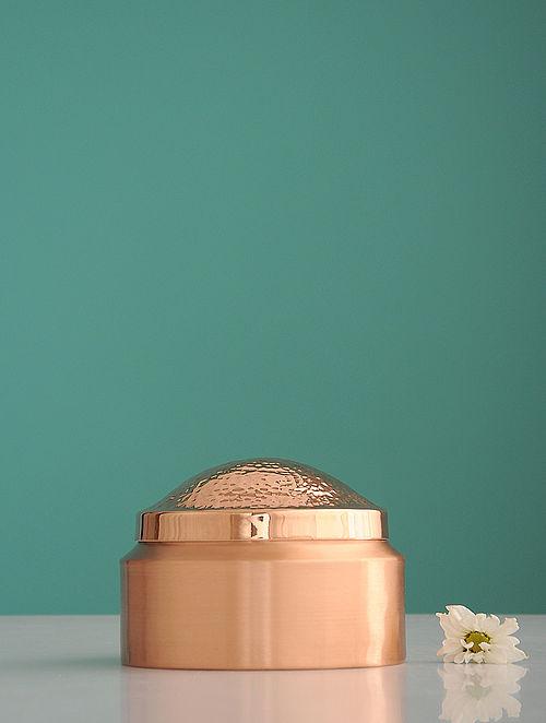 Prasadam Golden Copper Degchi with Lid (L:5.2in, W:5.2in, H:0.28in)