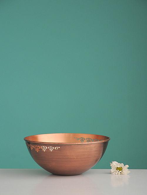 Jaipuri Sirohi Golden Copper Serving Bowl (L:6.6in, W:6.6in, H:0.24in)