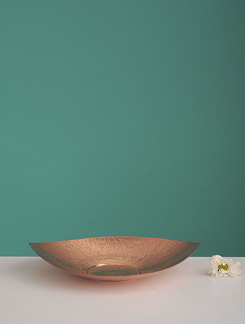 Shiva Pipal Golden Copper Platter (L:8.2in, W:8.2in, H:0.14in)