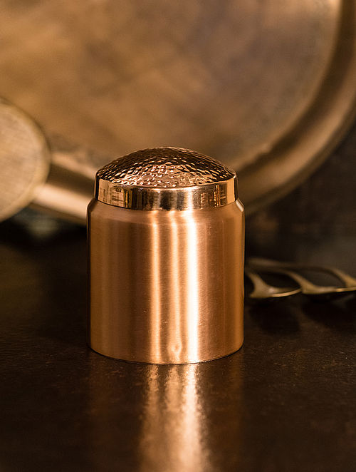 Jaipuri Handcrafted Copper Prasadam Martaban (Dia:3.3in, H:4.3in)