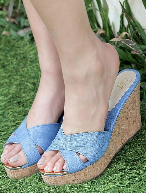 Blue Cork Wedges