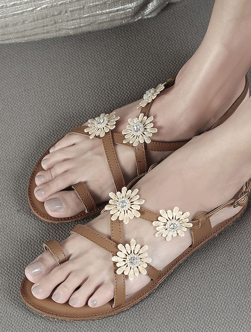 Tan Handcrafted Flats with Embellishments