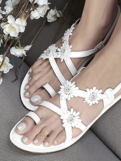 White Handcrafted Flats with Embellishments