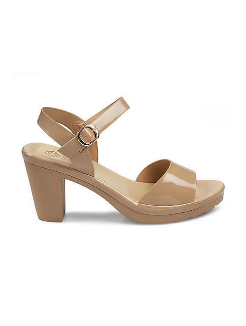 bf57d15b7b3 Buy Tan Handcrafted Block Heels Online at Jaypore.com