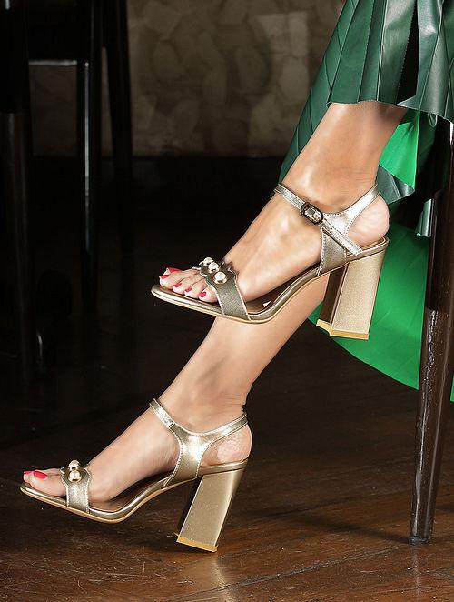 Gold Handcrafted Block Heels