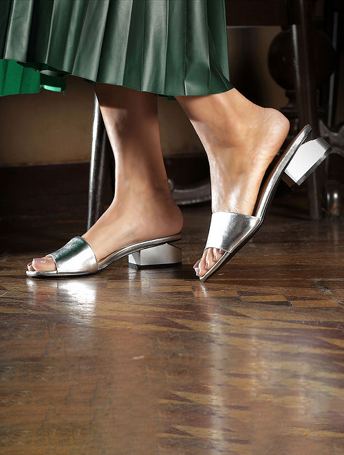 Silver Handcrafted Box Heels