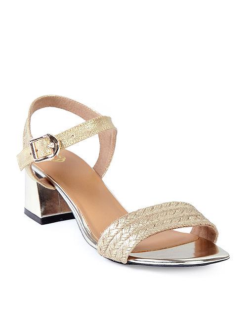 Golden Braided Jute Strap Block Heels