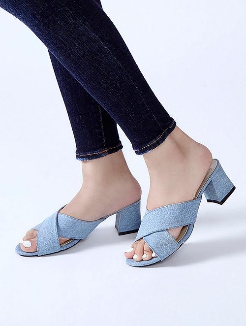 Blue Denim Block Heels