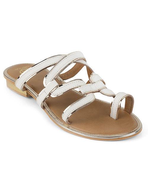 White-Silver Multi-strap Flats