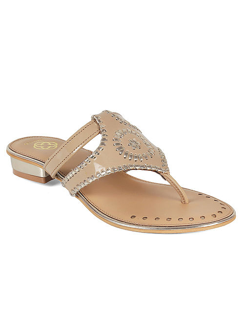 Beige-Silver Embroidered Flats
