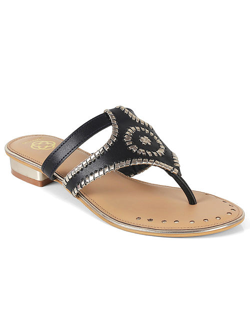 Black-Silver Embroidered Flats