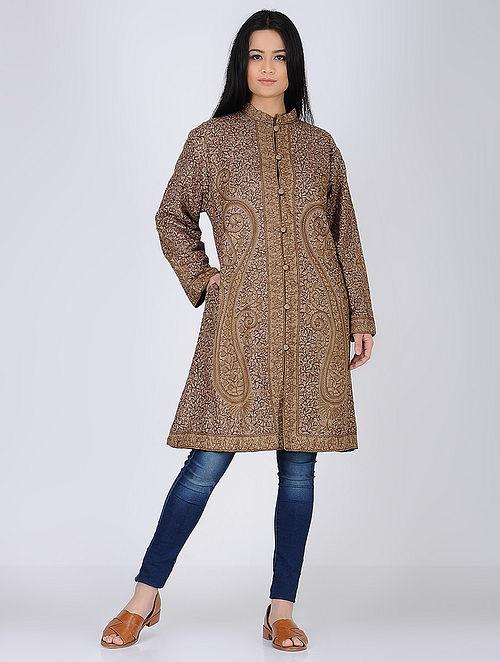 Brown Aari Embroidered Wool Jacket